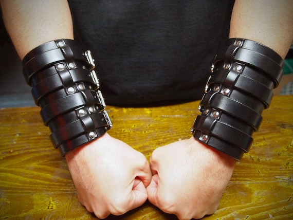 Pair of Black Leather wide Rocker Gauntlets :  Wide Rockstar style. Custom made for YOU in New York