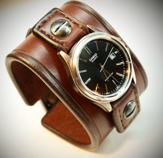 Leather cuff Watch : Brown Casio bridle leather Vintage style Wrist watch Custom made for YOU in New York, USA