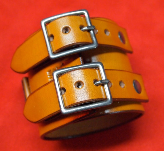 Leather cuff Bracelet Johnny Depp style wristband watchband Saddle tan leather jewelry made in USA for YOU by Freddie Matara