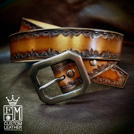 Leather Belt Hand Tooled Brown fade Western/ Native border Custom made for YOU in New York   by Freddie Matara