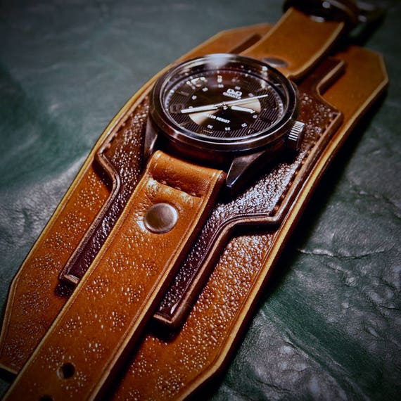 Leather cuff watch wrist watch vintage Nathan Drake style wide layered Custom made for YOU in USA by Freddie Matara