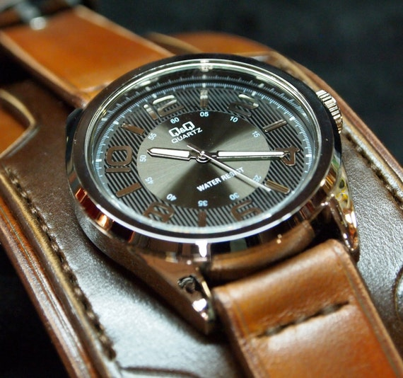 Leather cuff watch 2 Tone brown watchband- Nathan Drake wide layered made for YOU in Brooklyn, NY by Freddie Matara