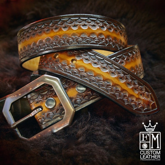 Brown Leather Belt Custom Sunburst finish Hand Tooled made for YOU in New York   by Freddie Matara