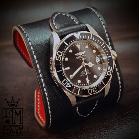 "Black Leather cuff watch : INVICTA diver watch 2.25"" wide Black leather- Red calf lined Custom made for YOU in USA!"