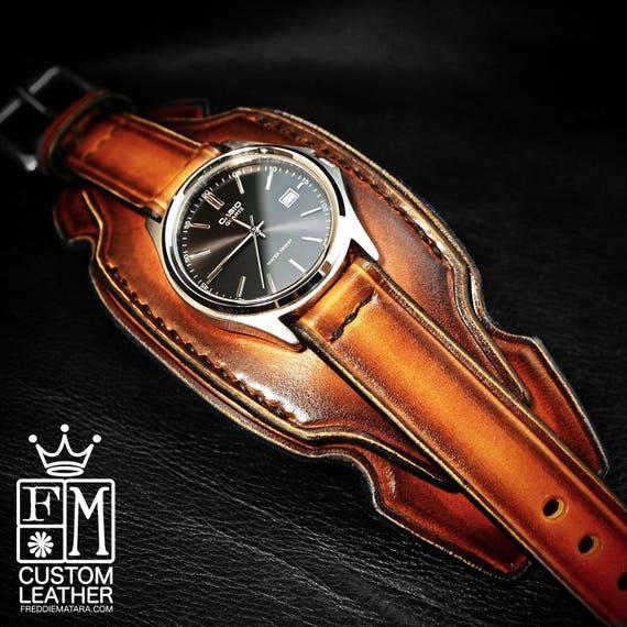 Leather cuff watch western sunburst layered Brown watch band cuff Bracelet  Handmade for YOU in USA by Freddie Matara