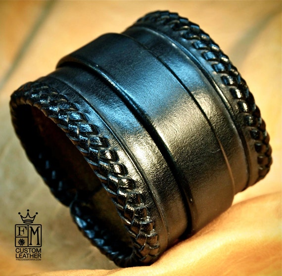 Black Leather Cuff bracelet : hand made in New York with laced braided edge! Sexy and comfortable!