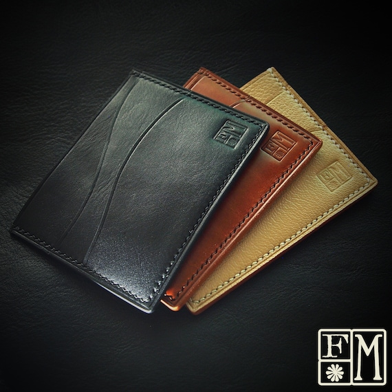 Minimalist card and cash wallet- front pocket wallet premium leather Black, Whiskey and Beige handmade in New York