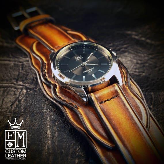 Leather cuff watch western sunburst wide layered Brown watch band cuff Bracelet  Handmade for YOU in USA by Freddie Matara