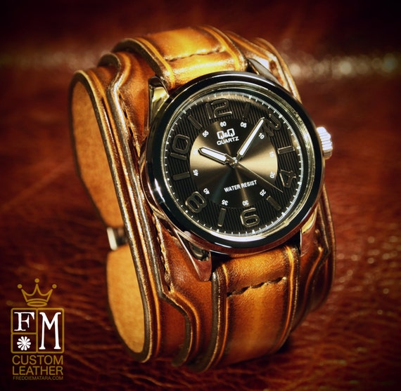 """Leather cuff watch Brown Tobacco fade 2"""" wide layered Brown watch band cuff Bracelet  Handmade for YOU in USA by Freddie Matara"""