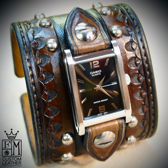 Brown Leather cuff watch : Cowboy Rockstar Style- Old west Punk wristwatch. Wide and Deep design!