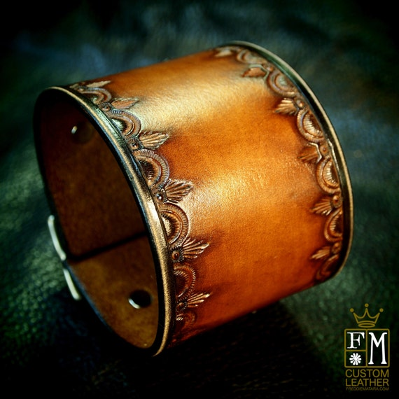 Leather cuff Bracelet- Vintage style Brown stamped and tooled wristband Custom Made for YOU in USA by Freddie Matara!