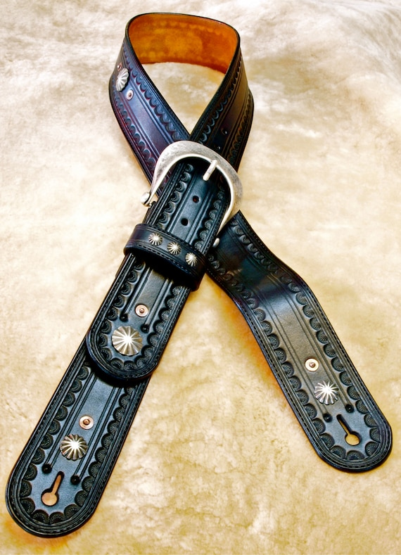 Leather Guitar strap Hand tooled, Handmade, Fine workmanship Black Vintage OUTLAW Cowboy Rockstar handmade for YOU in USA by Freddie Matara