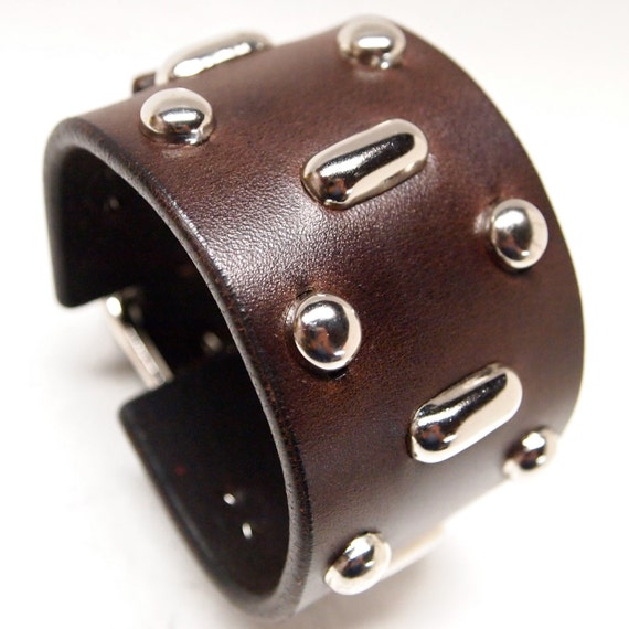 Brown Leather cuff Johnny Depp/ H.S.Thompson Fear and Loathing Style wristband bracelet Hand made for YOU in USA by Freddie Matara