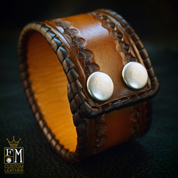 Leather cuff bracelet Custom Brown Tan sunburst Hand stamped and Laced Made for YOU in New York by Freddie Matara