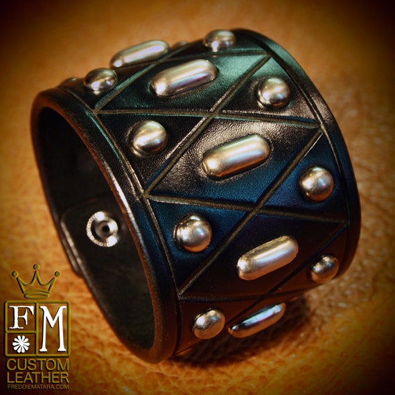 Black Leather cuff studded Bracelet Custom Made for YOU in USA by Freddie Matara