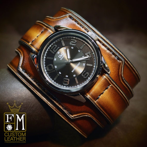 """Leather cuff watch Brown Tobacco fade 2.5"""" wide layered Brown watch band cuff Bracelet  Handmade for YOU in USA by Freddie Matara"""