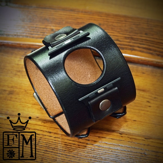 Apple watch Black Leather watchband cuff : Black vintage style cuff bracelet. Best look Hand made for YOU in New York!