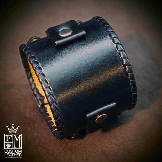 Leather bracelet cuff Black vintage Johnny Depp style watchband whipstitched cuff Best quality Made in New York for YOU by Freddie Matara