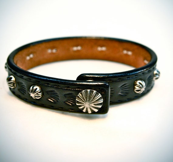 Black leather bracelet Concho snap cuff beautiful studded Thin and Sexy Cowboy/Native