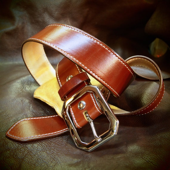 "Tan leather belt : 1-3/4"" rust brown Stitched luxury strap. Great for dress jeans!"