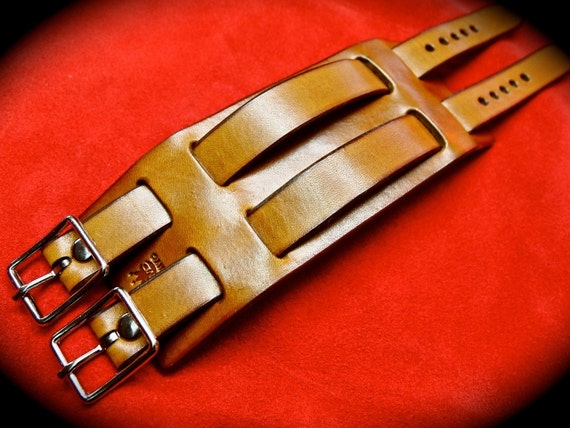 Leather cuff bracelet Tan Brown Double Strap Made for YOU in New YorkC by Freddie Matara