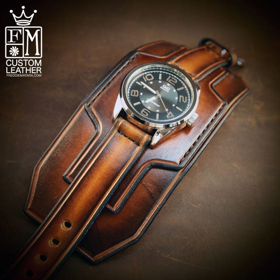 Brown Leather cuff watch : Tobacco sunburst Super wide layered watch band.  Handmade in USA