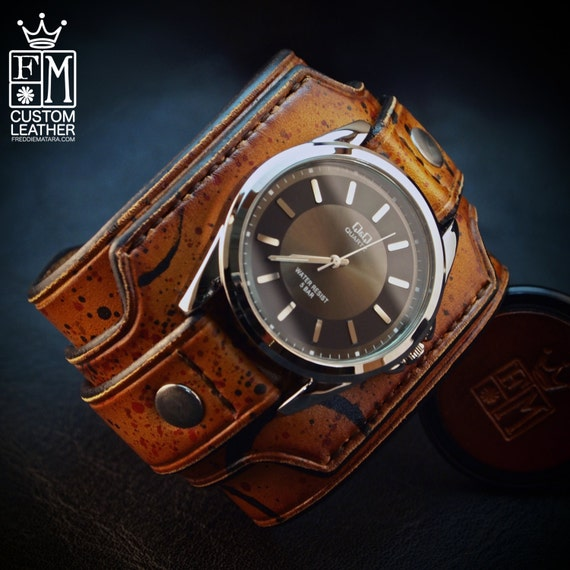Leather cuff watch Drake Uncharted style wide layered wristband Brown distressed destroyed bracelet made for YOU in USA by Freddie Matara!