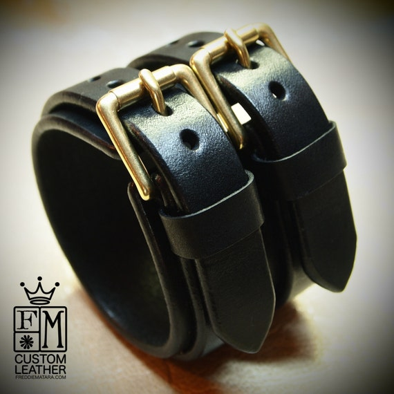 "2-1/8"" wide black bridle leather double strap cuff, Brass hardware"