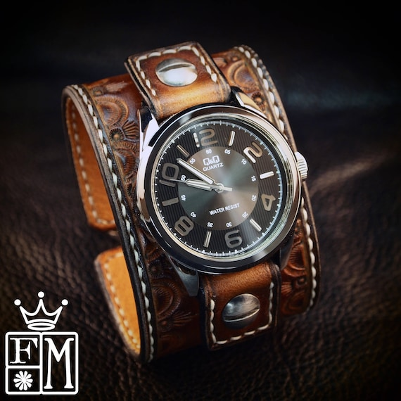 Leather cuff Watch: Brown Vintage sunburst Hand tooled and Handstitched watch band!