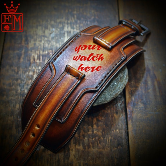 Leather cuff watchband : 18mm 20mm 22mm 24mm Vintage layered sunburst style wristband. Custom Made for YOU in New York!