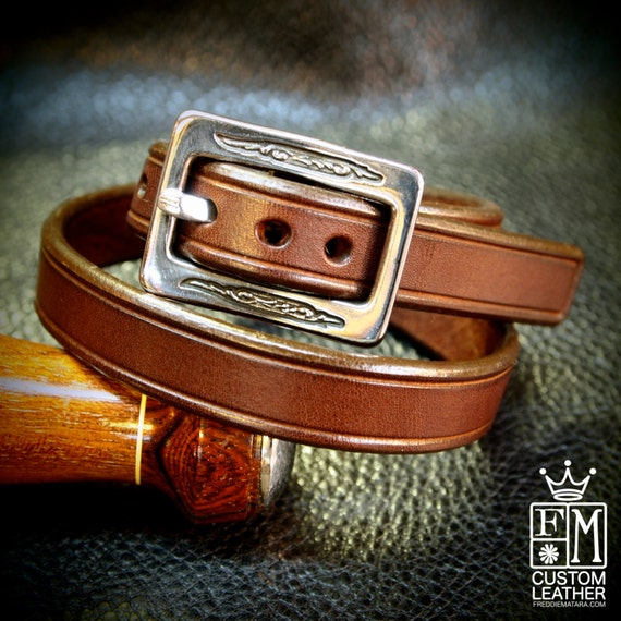 Leather Double wrap Brown bracelet cuff - Lean and Sexy made for YOU in Brooklyn USA by Freddie Matara!