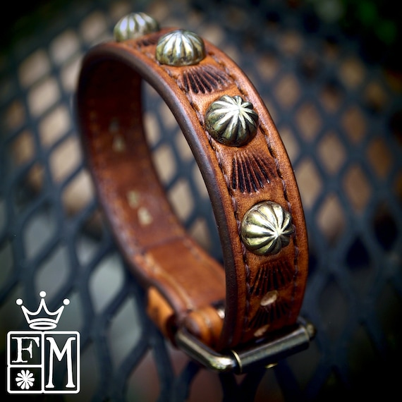 Leather bracelet cuff Brown : Handstitched Lean and Sexy Cowboy western style made for YOU in New York!
