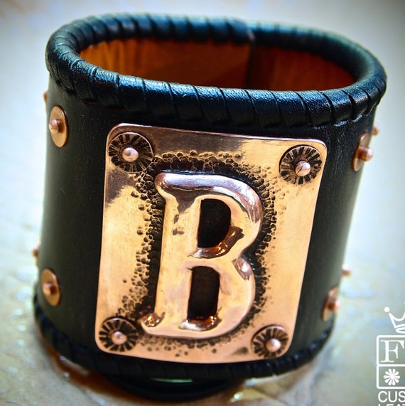 Leather cuff Bracelet hand hammered Copper Initial and sterling silver concho Chase/Repousse Handmade for YOU in USA by Freddie Matara