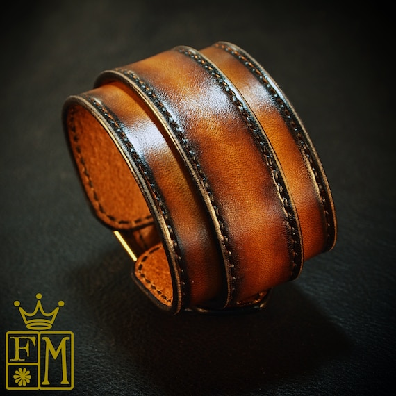 Sunburst Leather cuff bracelet : Hand stitched with Fine Leatherworking skills. Best Quailty made In New York USA!
