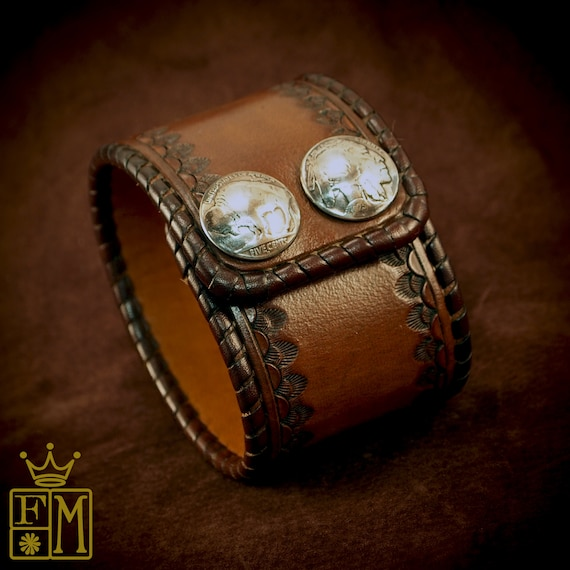Brown Leather cuff Bracelet : Brown cinnamon Vintage style laced, hand tooled, Buffalo nickels - Quality Made for YOU in New York USA