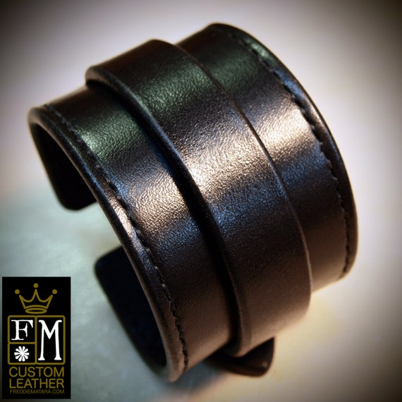 Leather cuff Bracelet black handstitched custom crafted for YOU in New York by Freddie Matara