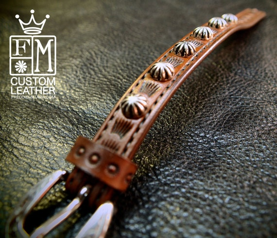 Tan studded Leather bracelet cuff : Lean and Sexy Cowboy western style made in New York USA