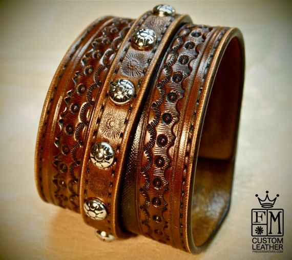 Custom Brown hand tooled leather cuff bracelet Cowboy Western style made for YOU in USA by Freddie Matara!