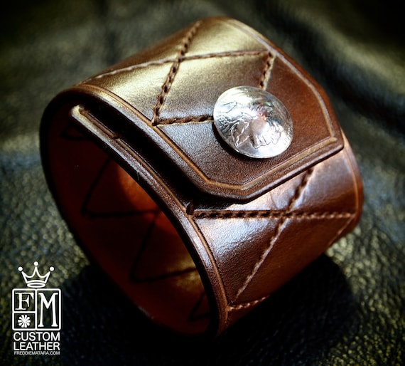 Leather Cuff Custom Quilted Handstitched Luxury Genuine Buffalo Nickel closure New York