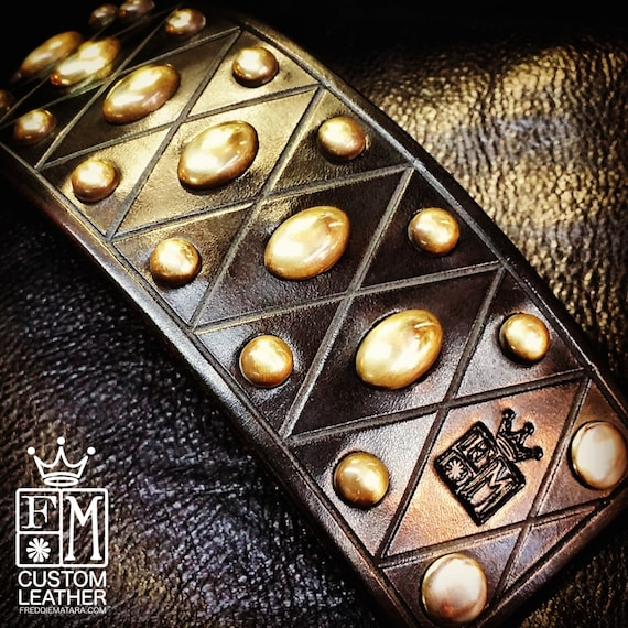 Leather cuff Bracelet Black bridle with Brass spots- Custom Made for YOU in USA by Freddie Matara