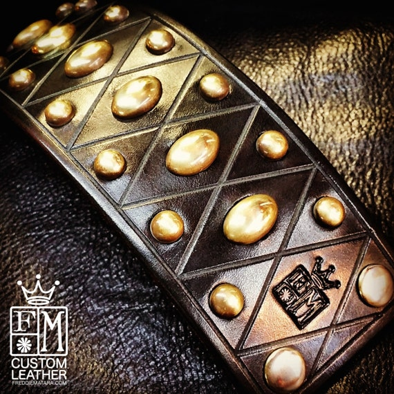 Black Leather cuff Bracelet : Brass studs and hardware. American Bridle leather with Harlequin Diamond pattern!