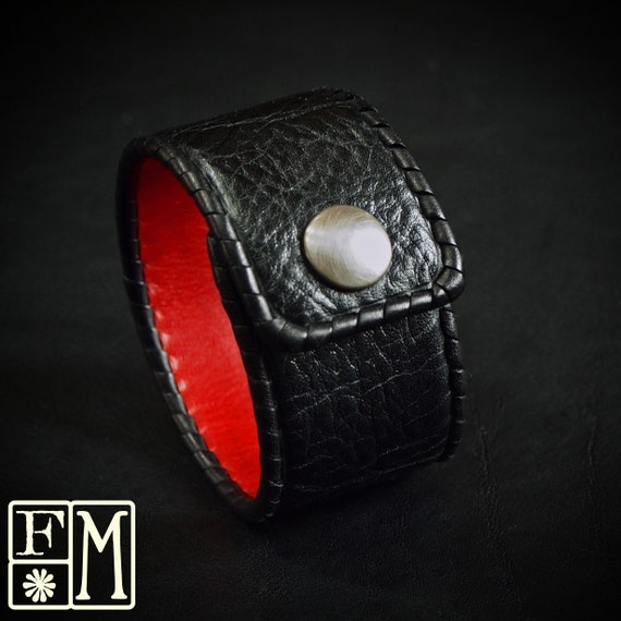 Leather cuff bracelet Black soft cowhide with Red lining Hand Laced Made for YOU in New York by Freddie Matara