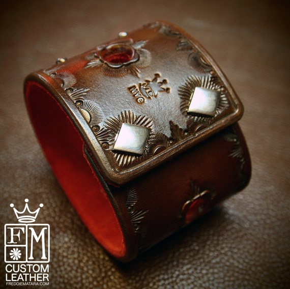 Leather cuff Bracelet Hand Tooled Walnut brown with Red suede lining Made for YOU in New York by Freddie Matara!