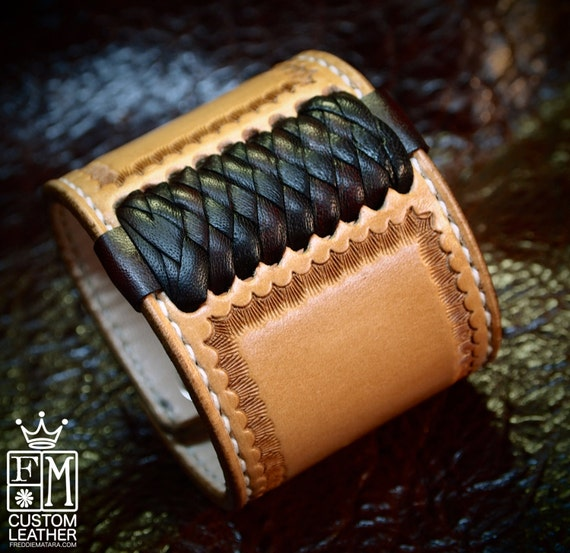Leather cuff Bracelet American Western Saddle style wristband Handstitched Braided Stamped Handcrafted for YOU in USA by Freddie Matara!