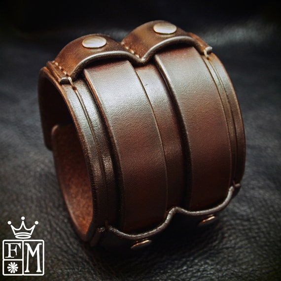 "BROWN Leather cuff Bracelet : Brown leather wristband 2.5"" wide Custom made for YOU in New York by Freddie Matara"