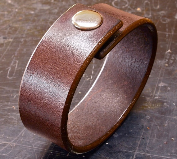 Brown Leather cuff wristband American bridle leather bracelet 1 inch wide slick edges Handmade for YOU in USA by Freddie Matara