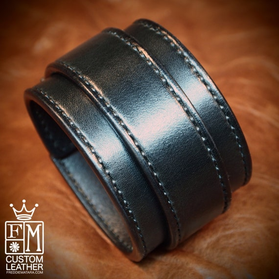 Leather cuff bracelet Black bridle leather Fine handworked wristband Hand stitched and made for you in Brooklyn USA by Freddie Matara