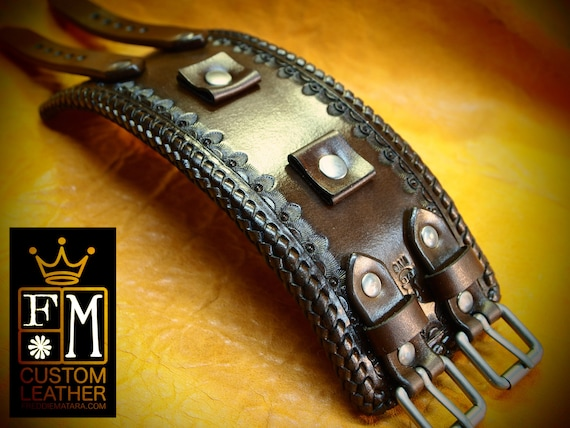Leather cuff watch band - Vintage style, western stamped Rich Brown watchband -  Best quality Made for YOU in USA by Freddie Matara