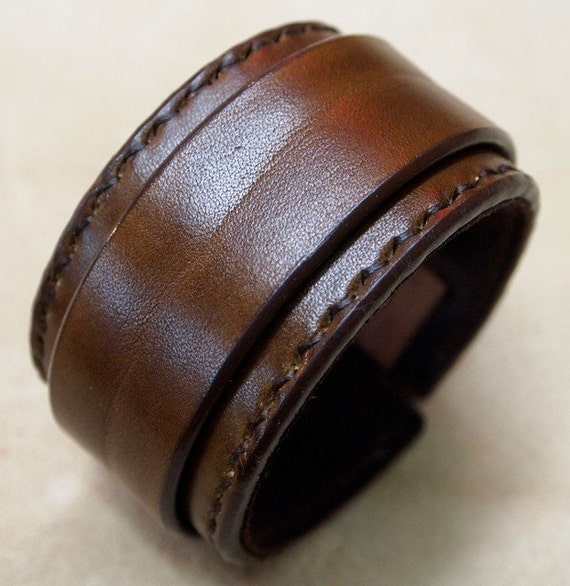 Brown Leather wristband : Cuff Bracelet hand stitched suede lined custom crafted for You in USA