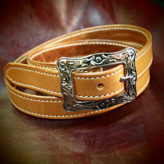 Leather belt natural, ladies, Men- Oiled, stitched and sealed- Western style belt made for You in Brooklyn by Freddie Matara  USA USA